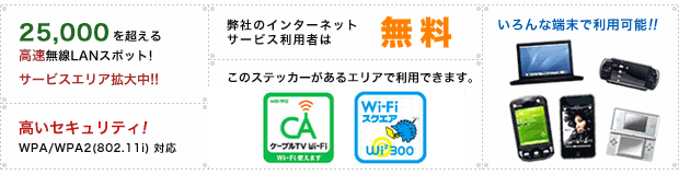 ケーブルTV Wi-Fiの特徴