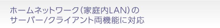 ホームネットワーク(家庭内LAN)のサーバー/クライアント両機能に対応